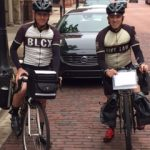 Outside the Sinas Dramis Law Firm Office in downtown Grand Rapids, getting ready for a 200-mile ride. (Left: Wade Burch. Right: Bryan Waldman)