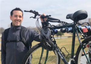 Attorney Joel Finnell with Bike