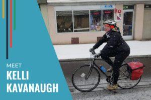 Kelli Kavanaugh owner of Wheelhouse Detroit riding bike in snow