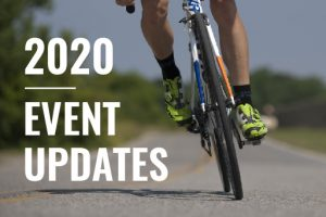 Cyclist on Pavement with text 2020 Event Updates