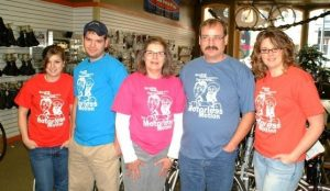 Allison Quast and Family at Bike Shop