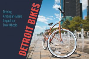 Detroit Bikes bike parked in front of Renaissance Center near fountains