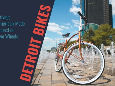 Detroit Bikes bike parked in front of Renaissance Center near fountains