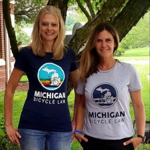 Blue and Gray Women's Michigan Bicycle Law t-shirts