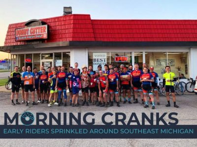 Morning Cranks Club standing in front of the Donut Cutter